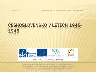 Československo v letech 1945-1948