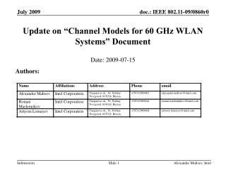 Update on �Channel Models for 60 GHz WLAN Systems� Document