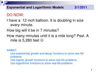 Exponential and Logarithmic Models             3/1/2011