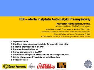 RSI – oferta Instytutu Automatyki Przemysłowej