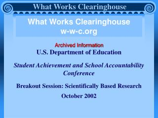 What Works Clearinghouse w-w-c