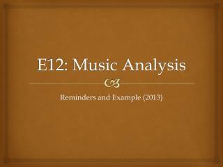 E12: Music Analysis