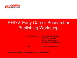 RHD & Early Career Researcher Publishing Workshop