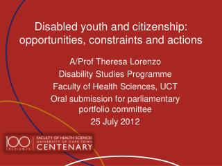 Disabled youth and citizenship: opportunities, constraints and actions