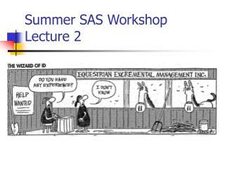 Summer SAS Workshop Lecture 2