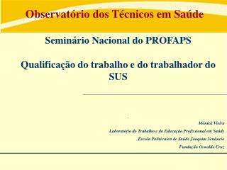 Monica Vieira Laboratório do Trabalho e da Educação Profissional em Saúde
