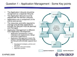 Question 1 – Application Management - Some Key points