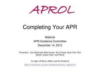 APROL Completing Your APR