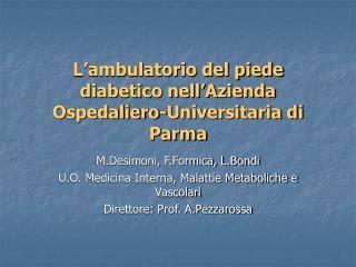 L'ambulatorio del piede diabetico nell'Azienda Ospedaliero-Universitaria di Parma