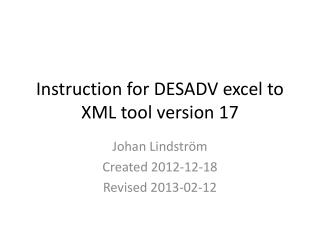 Instruction for DESADV excel to XML tool version 17