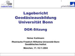 Lagebericht Geodäsieausbildung Universität Bonn