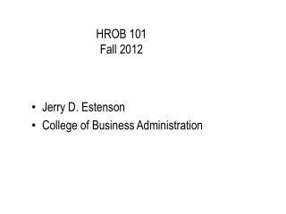 HROB 101 Fall  2012