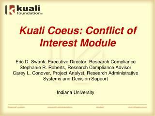 Kuali Coeus: Conflict of Interest Module