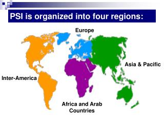 PSI is organized into four regions: