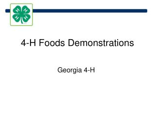 4-H Foods Demonstrations
