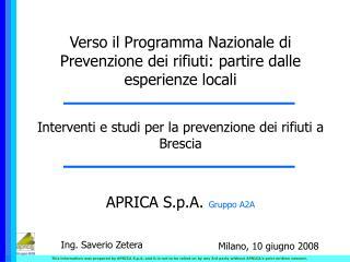 APRICA S.p.A.  Gruppo A2A