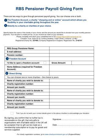 RBS Pensioner Payroll Giving Form