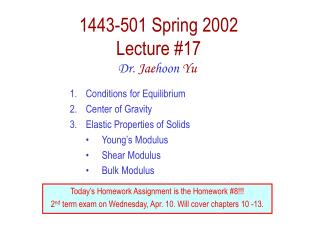 1443-501 Spring 2002 Lecture #17