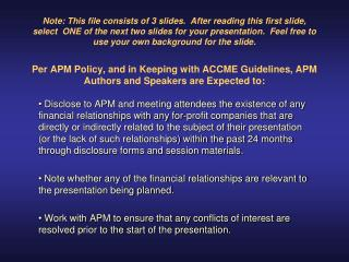 APM 58th Annual Meeting Disclosure: Joseph Smith, MD