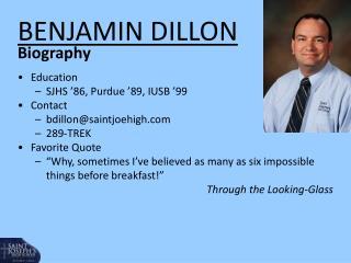BENJAMIN DILLON