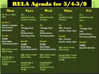 RELA Agenda for 3/4-3/8