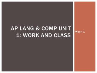 AP Lang & Comp Unit 1: Work and Class