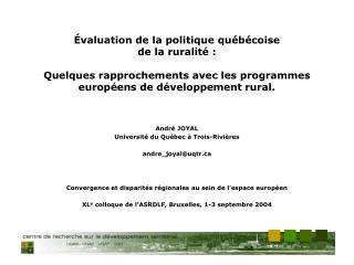 André JOYAL Université du Québec à Trois-Rivières andre_joyal@uqtr