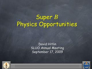 Super  B Physics Opportunities