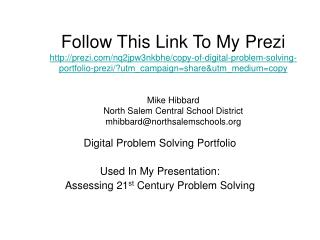 Digital Problem Solving Portfolio Used In My Presentation: