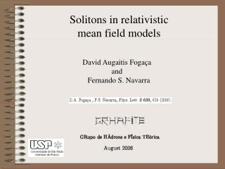 Solitons in relativistic mean field models