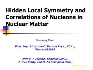 Hidden Local Symmetry and Correlations of Nucleons in Nuclear Matter