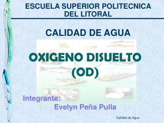 OXIGENO DISUELTO (OD) Integrante: Evelyn Peña Pulla
