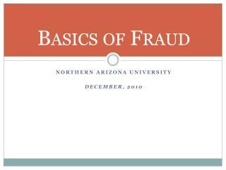 Basics of Fraud
