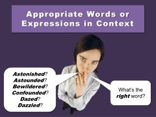 Appropriate Words or Expressions in Context