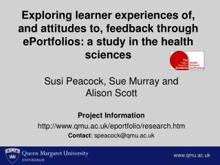 Susi Peacock, Sue Murray and Alison Scott  Project Information