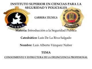 INSTITUTO SUPERIOR EN CIENCIAS PARA LA SEGURIDAD Y POLICIALES CARRERA TÉCNICA