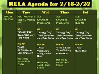 RELA Agenda for 2/18-2/22