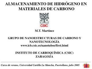 ALMACENAMIENTO DE HIDR GENO EN  MATERIALES DE CARBONO