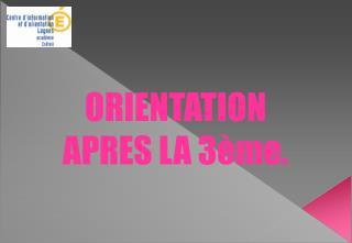ORIENTATION APRES LA 3ème.