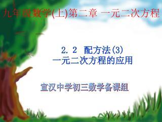 九年级数学 ( 上 ) 第二章 一元二次方程