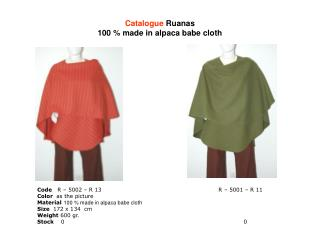 Catalogue  Ruanas 100 % made in alpaca babe cloth