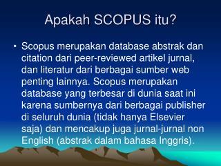 Apakah SCOPUS itu?