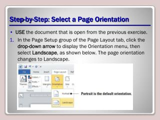 Step-by-Step: Select a Page Orientation