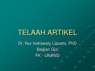 TELAAH ARTIKEL