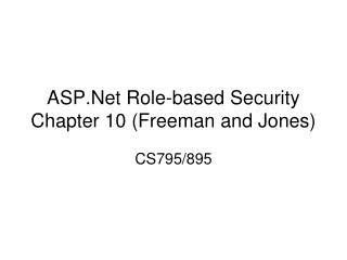 ASP.Net Role-based Security Chapter 10 (Freeman and Jones)