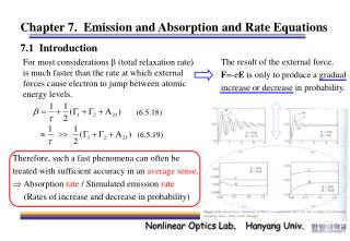 Chapter 7.  Emission and Absorption and Rate Equations