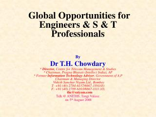 Global Opportunities for Engineers & S & T Professionals