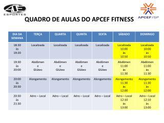 QUADRO DE AULAS DO APCEF FITNESS