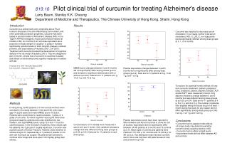 819.16 Pilot clinical trial of curcumin for treating Alzheimer's disease