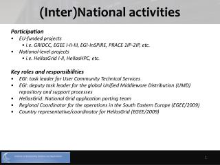 (Inter)National activities